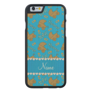 Name sky blue gold baby carriages pins baby shower carved® maple iPhone 6 case