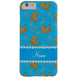 Name sky blue gold baby carriages pins baby shower barely there iPhone 6 plus case