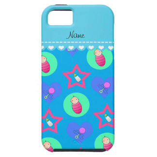 Name sky blue hearts dots stars baby rattle bottle iPhone 5 cases