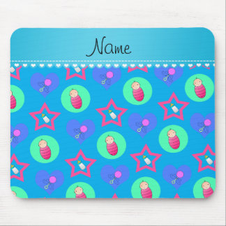 Name sky blue hearts dots stars baby rattle bottle mouse pad