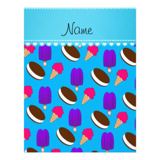 Name sky blue ice cream cones sandwiches popsicles 21.5 cm x 28 cm flyer