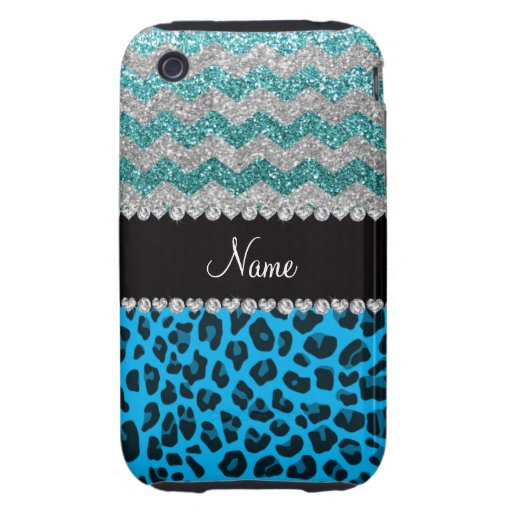 Name sky blue leopard turquoise glitter chevrons iPhone 3 tough covers