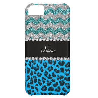 Name sky blue leopard turquoise glitter chevrons iPhone 5C case