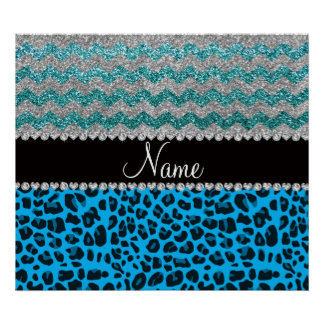 Name sky blue leopard turquoise glitter chevrons posters