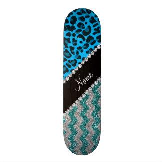 Name sky blue leopard turquoise glitter chevrons skate board decks