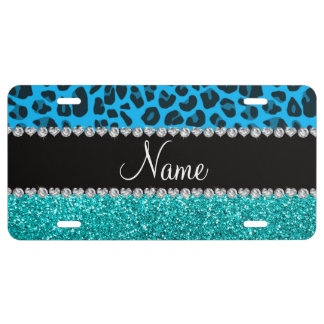 Name sky blue leopard turquoise glitter license plate