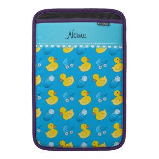 Name sky blue rubberduck baby carriage MacBook air sleeve