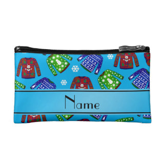 Name sky blue ugly christmas sweater pattern makeup bags