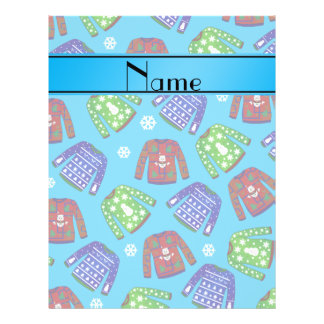 Name sky blue ugly christmas sweater pattern 21.5 cm x 28 cm flyer