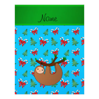 Name sloth blue candy canes bows christmas trees 21.5 cm x 28 cm flyer