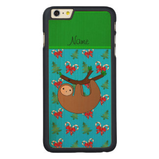 Name sloth blue candy canes bows christmas trees iPhone 6 plus case
