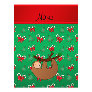 Name sloth green candy canes bows christmas trees 21.5 cm x 28 cm flyer