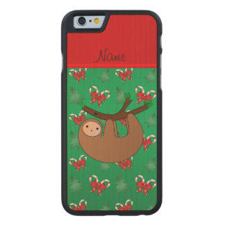 Name sloth green candy canes bows christmas trees carved® maple iPhone 6 case