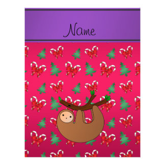 Name sloth magenta candy canes bows christmas tree 21.5 cm x 28 cm flyer