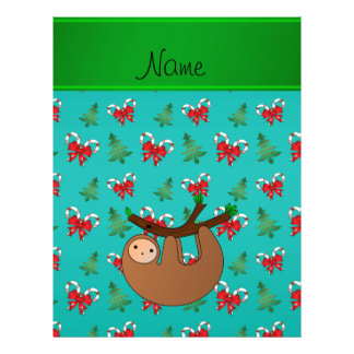 Name sloth turquoise candy canes christmas trees 21.5 cm x 28 cm flyer