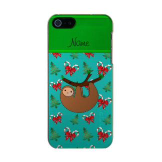Name sloth turquoise candy canes christmas trees incipio feather® shine iPhone 5 case