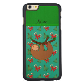 Name sloth turquoise candy canes christmas trees iPhone 6 plus case