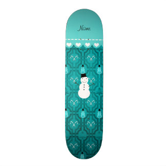 Name snowman turqouise candy canes christmas tree 21.3 cm mini skateboard deck
