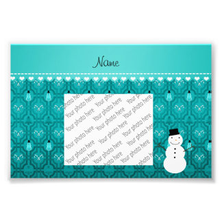 Name snowman turqouise candy canes christmas tree photograph