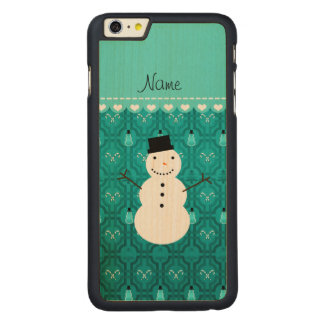 Name snowman turqouise candy canes christmas tree iPhone 6 plus case