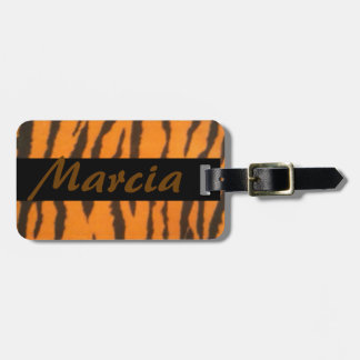 Name Stylish Tiger Print Luggage Tag