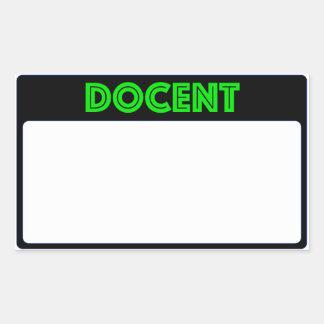 Name Tag Docent Rectangular Sticker