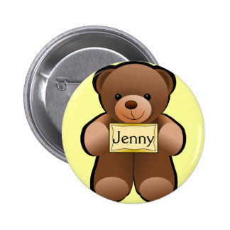 Name Tag Teddy 6 Cm Round Badge