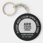 name, text & special date, photo black key ring
