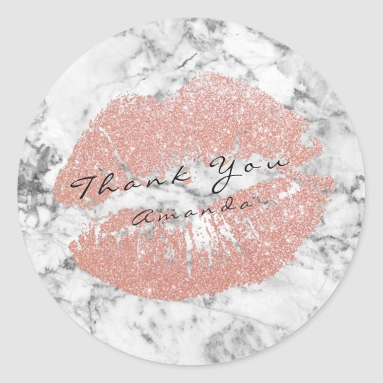 Name Thank You Kiss Silver Glitter Marble Pink