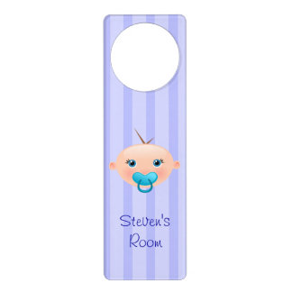 """Name This!"" Baby Face Blue - Nursery Door Hanger"