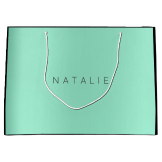 Name Tiffany Aqua Mint Blush Pearly Minimal Gift Large Gift Bag