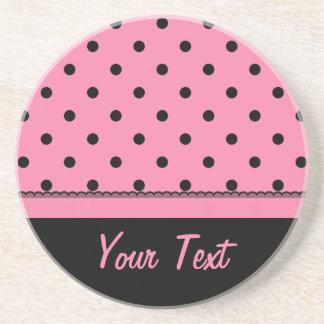 Name Tube Sock Black Polka Dots hot pink Drink Coaster