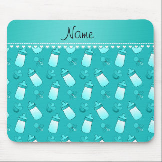 Name turquoise baby bottle rattle pacifier mouse pad