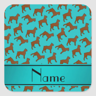Name turquoise Bouvier des Flandres dogs Square Sticker