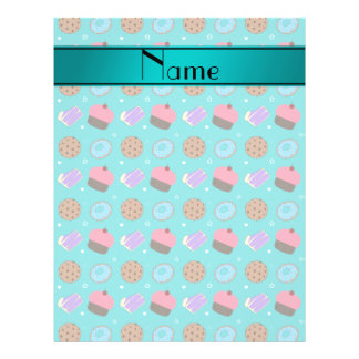 Name turquoise cupcake donuts cake cookies flyers
