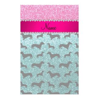 Name turquoise glitter dachshunds pink glitter customized stationery