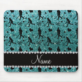 Name turquoise glitter field hockey hearts bows mouse mat