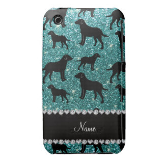 Name turquoise glitter labrador retrievers iPhone 3 case