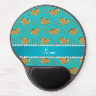 Name turquoise gold hearts bachelorette party gel mouse pad