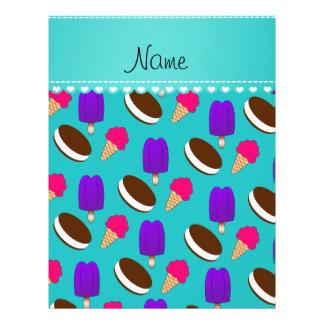 Name turquoise ice cream cones sandwiches popsicle 21.5 cm x 28 cm flyer