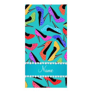 Name turquoise rainbow leopard high heels personalized photo card