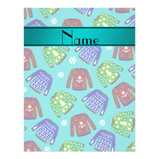 Name turquoise ugly christmas sweater pattern 21.5 cm x 28 cm flyer