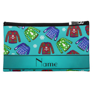 Name turquoise ugly christmas sweater pattern makeup bags