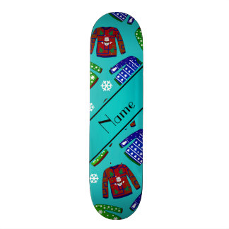 Name turquoise ugly christmas sweater pattern skateboards