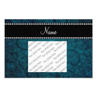 Name vintage blue swirls and butterflies photo print