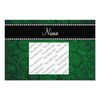 Name vintage bright green swirls and butterflies photo print