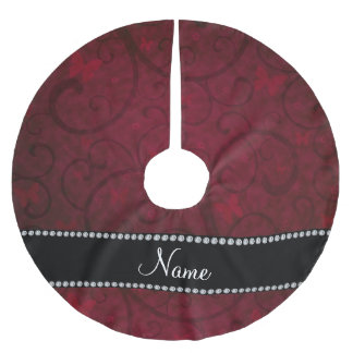 Name vintage burgundy swirls and butterflies brushed polyester tree skirt