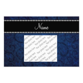 Name vintage navy blue swirls and butterflies art photo