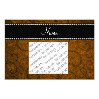 Name vintage orange swirls and butterflies photograph