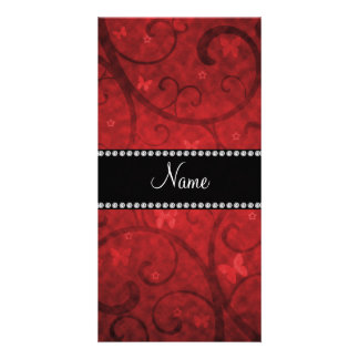 Name vintage red swirls and butterflies photo card